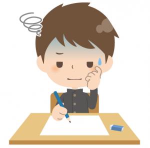 試験中、焦っている学生の画像