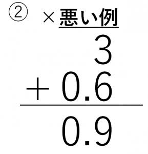3+0.6=0.9という間違った筆算
