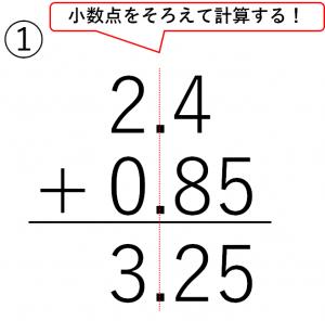 2.4+0.85=3.25の筆算