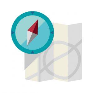 方向を示す方位磁石と、位置を表す地図