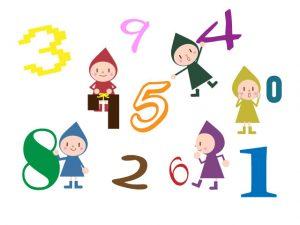 0~9までの数字と小人のイラスト