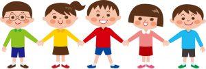 みんなで仲良くしている道徳的な子どもたちのイラスト