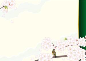 桜とウグイスの絵巻調のイラスト