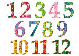 1~12までの数字のイラスト