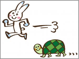 ウサギがのろのろ進む亀を追い越すイラスト
