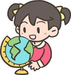 地球儀を使っている女の子のイラスト