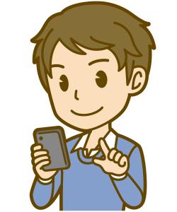 スマホでメールを書いているイケメンのイラスト
