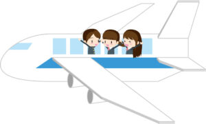 中国に旅行に行く高校生たちのイラスト