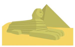 エジプト文明にゆかりのあるピラミッドとスフィンクスのイラスト