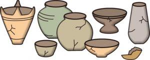 遺跡から発掘された土器のイラスト