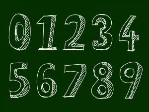 黒板に1~9までの数字がかいてあるイラスト