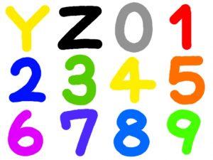 数字とアルファベットのカラフルなイラスト