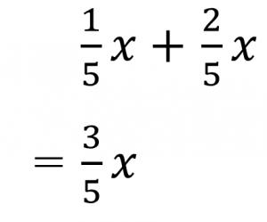 1/5x+2/5x=3/5x