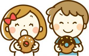 ドーナツを食べている子どもたちのイラスト