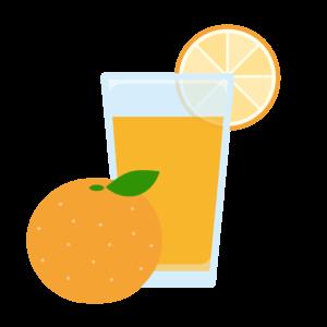 しぼりたてのオレンジジュースのイラスト