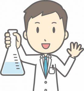 化学を教える白衣を着た男性教師のイラスト
