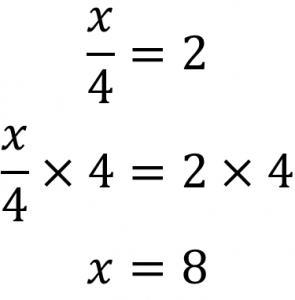 x/4=2 (x/4)×4=2×4 x=8