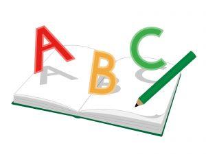 アルファベットとノートと鉛筆のイラスト