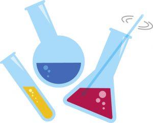 試験管やビーカーなど理科の実験道具のイラスト