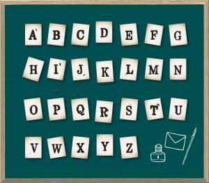 アルファベットのスタンプ風イラスト