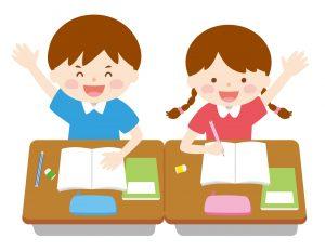 授業中に手を挙げている男の子と女の子のイラスト
