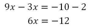 (3/2x+1/3)×6=(1/2x-5/3)×6の計算の過程②
