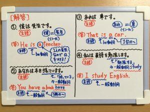 be動詞と一般動詞の基本文の練習問題②の解答