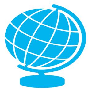青を基調としたシンプルな地球儀のイラスト