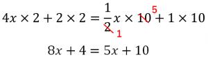 (4x+2)/5=1/2x+1の計算過程②