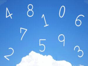 空の上に0~9までの数字が浮かんでいるイラスト