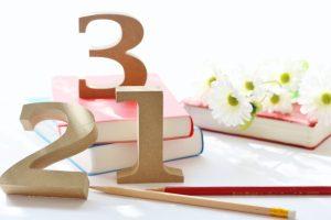 木で作られた1~3の数字の置き物と花と本の写真