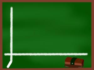 x軸とy軸がかかれた黒板のイラスト