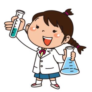 理科の実験を行っている女の子のイラスト