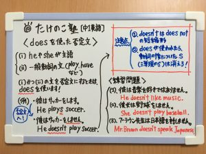 doesを使った否定文の練習問題の解答が載っている画像