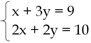 連立方程式 x+3y=9 2x+2y=10
