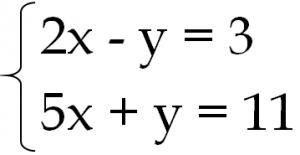 連立方程式 2x-y=3 5x+y=11