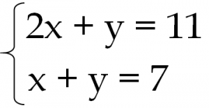 連立方程式 2x+y=11 x+y=7