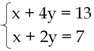 連立方程式 x+4y=13 x+2y=7