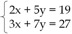 連立方程式 2x+5y=19 3x+7y=27