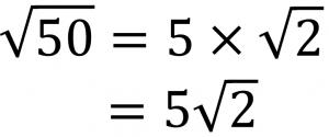 √50=5×√2=5√2