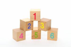 1~5までの数字が載っている積み木の画像