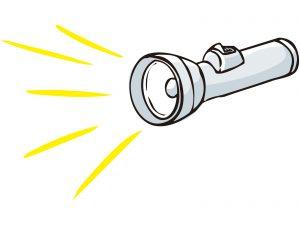 懐中電灯から光が直進しているイラスト