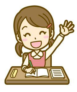 説明に納得して手を挙げている女子中学生のイラスト