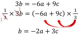 3b=-6a+9c→1/3×3b=(-6a+9c)×1/3→b=-2a+3c