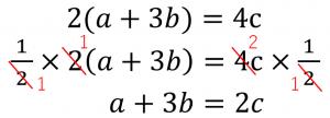 2(a+3b)=4c→1/2×(a+3b)=4c×1/2→a+3b=2c