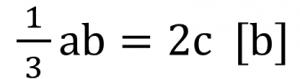 1/3ab=2c