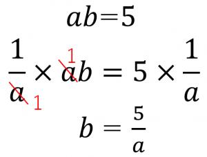 ab=5 1/a×ab=1/a×5 b=5/a