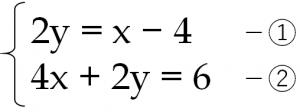 2y=x-4 …① 4x+2y=6…②