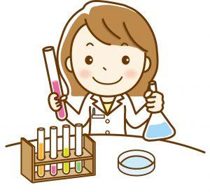 化学の実験を行っている女性科学者のイラスト