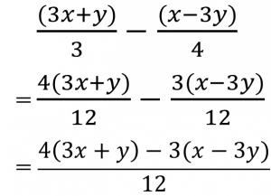 (2x+y)/3-(x-3y)/4=4(2x+y)/12-3(x-3y)/12={4(2x+y)-3(x-3y)}/12